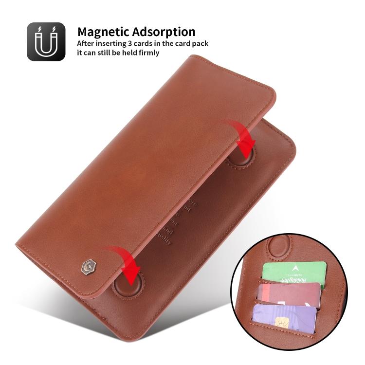 Кожаный универсальный чехол-кошелек для Айфон - коричневый