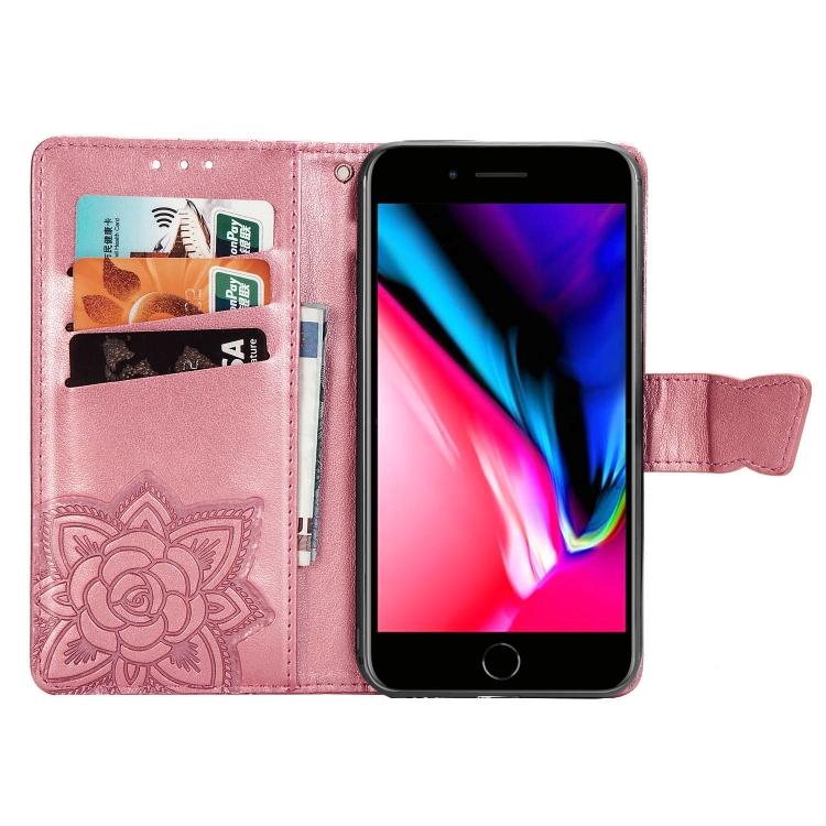 Чехол-книжка Butterfly Love Flower Embossed на iPhone SE 2 2020/7/8 - розовый
