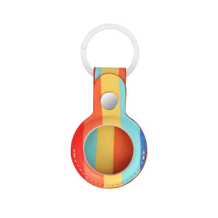 Кожаный брелок Rainbow с кольцом для AirTag - разноцветный