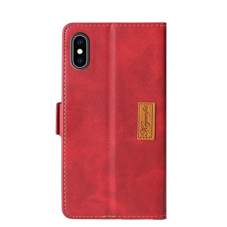 Чехол-книжка Contrast Retro Texture на Айфон XS Макс- красный
