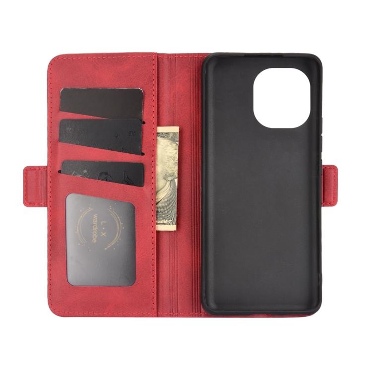 Кожаный со слотами чехол-книжка на Ксяоми Ми 11 красный