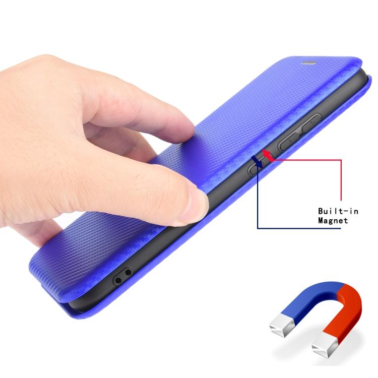 Чехол-книжка Carbon Fiber Texture на Айфон 12 Про Макс - синий