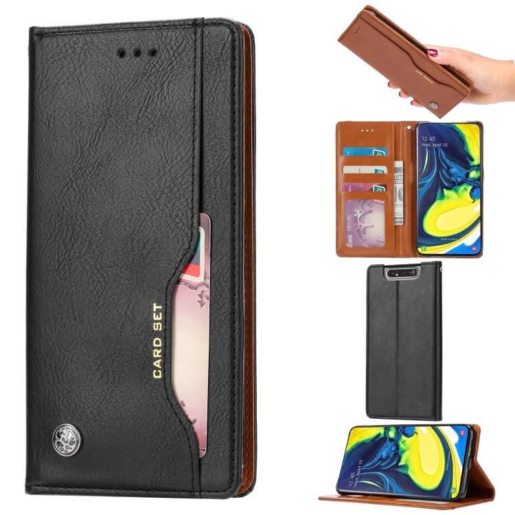 Чехол-книжка Knead Skin Texture на Samsung Galaxy A80- черный