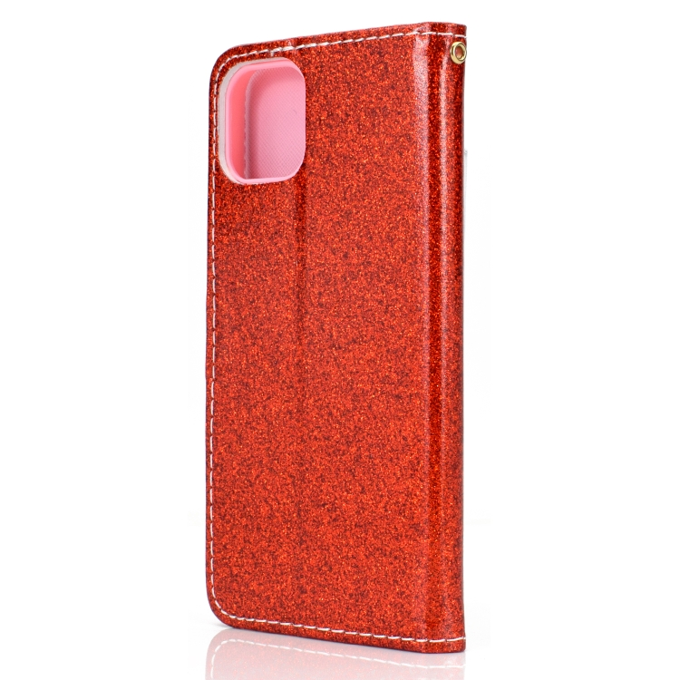 Чехол-книжка Glitter Powder на iPhone 12/12 Pro - красный
