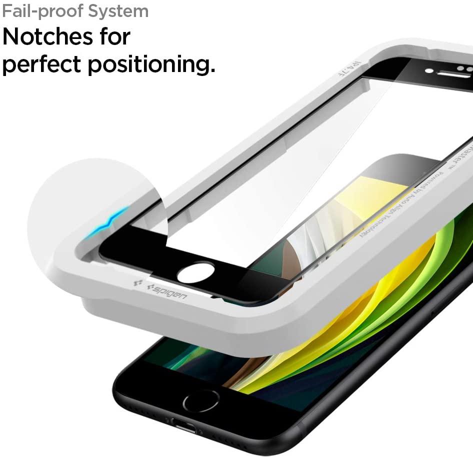 Защитное каленое стекло Spigen Alm Glass Fc для iPhone 7/8/Se 2020 Black