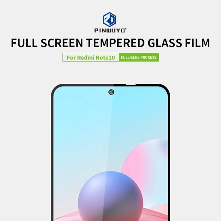 Защитное стекло PINWUYO 9H 3D Full Screen на Xiaomi Redmi Note 10 - черное