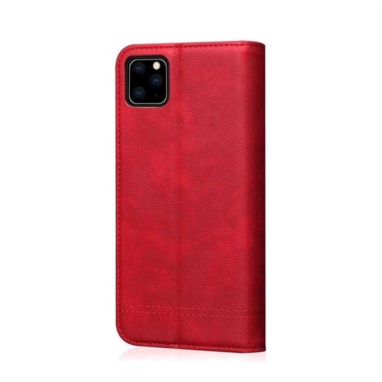Кожаный чехол -книжка Retro Texture Wallet для iPhone 11 Pro- красный