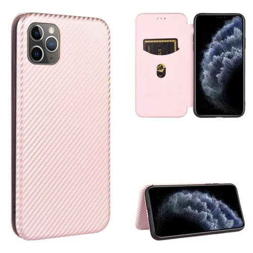 Чехол-книжка Carbon Fiber Texture на iPhone 12 Pro Max - розовый