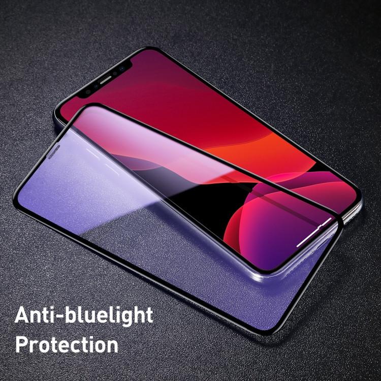 3D  защитное стекло  Baseus 0.3mm 9H  Anti Blue-ray для Айфон 11 Про Макс