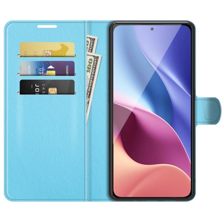 Чехол-книжка голубого цвета со слотами для Ксиоми Mi 11i/Редми K40 Про/K40/Поко Ф3
