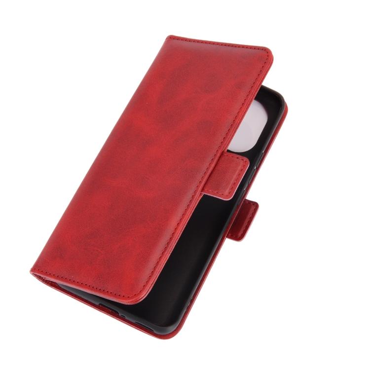 Кожаный чехол-книжка на Ксяоми Ми 11 красный двойная магнитная застежка