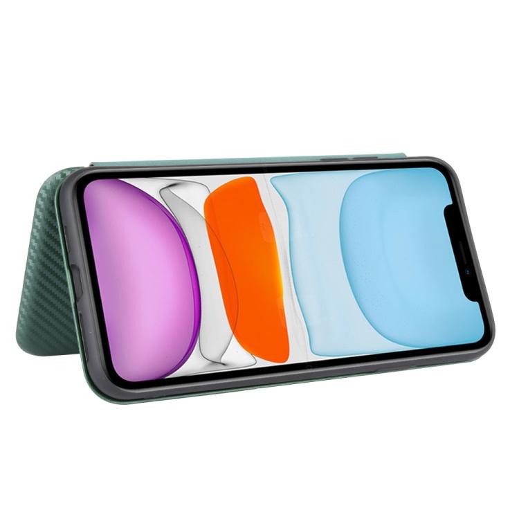 Чехол-книжка Carbon Fiber Texture на Айфон 12/12 Pro - зеленый