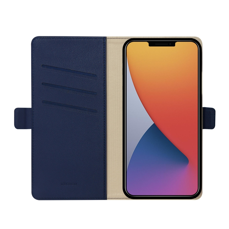 Синий чехол-книжка с карманами для карт  на Айфон 12 Мини