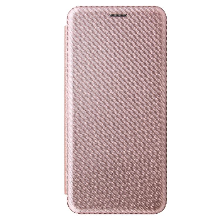 Чехол-книжка Carbon Fiber розового цвета на Samsung Galaxy S21 Ultra