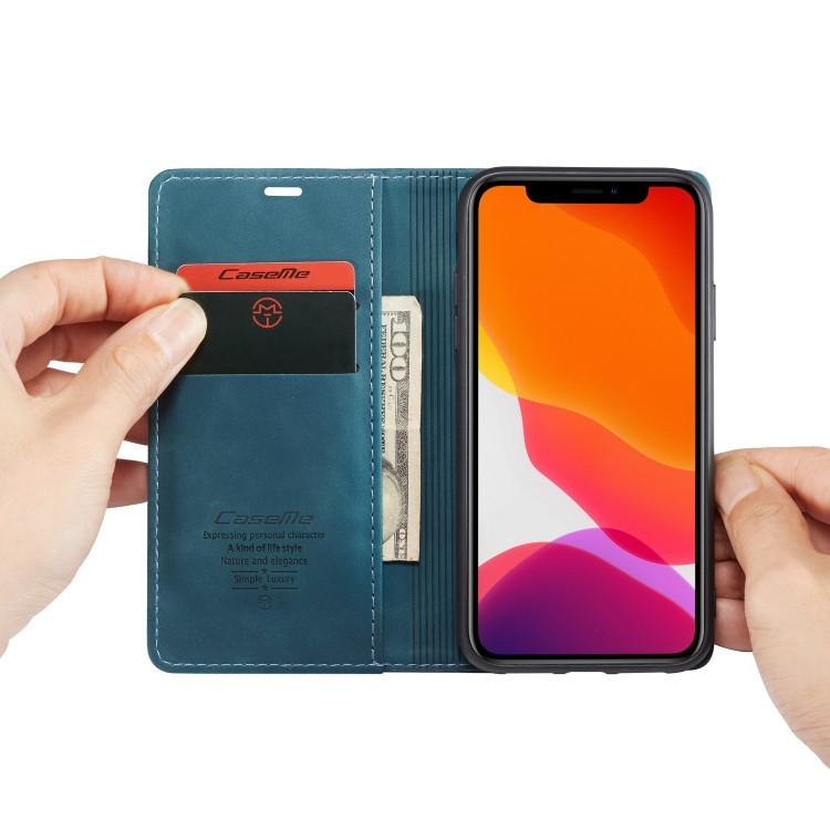 Синий чехол-книжка с слотами под кредитки на Айфон 12