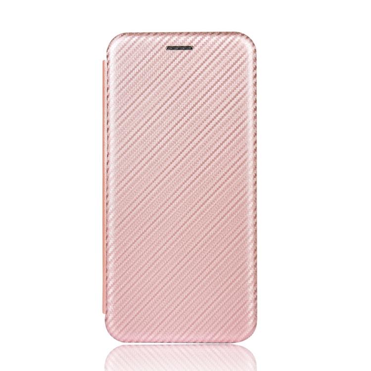 Чехол-книжка Carbon Fiber Texture на Realme C11 - розовый