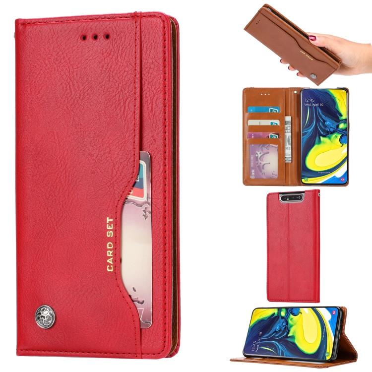 Чехол-книжка Knead Skin Texture на Samsung Galaxy A80- красный