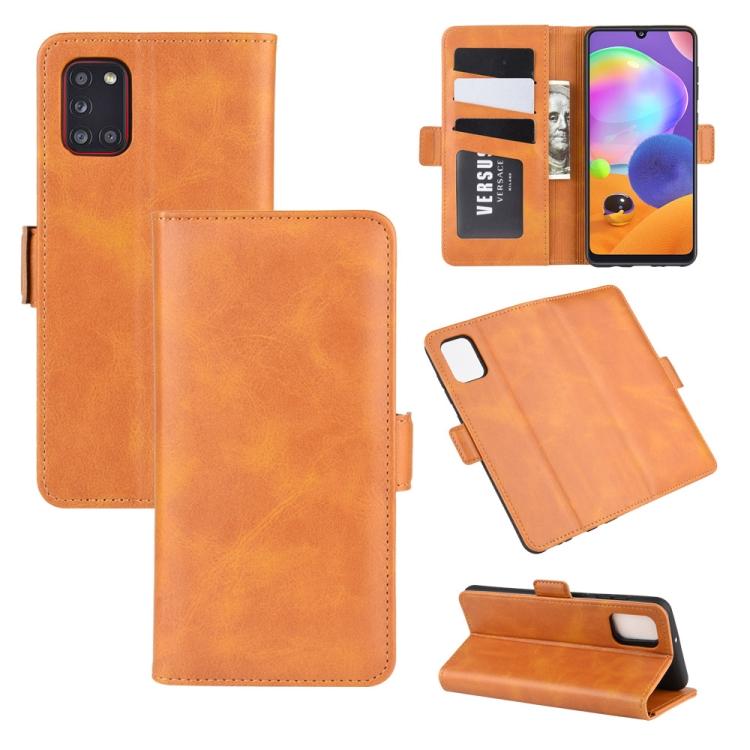 Чехол-книжка Dual-side Magnetic Buckle для Самсунг A31 - оранжевый
