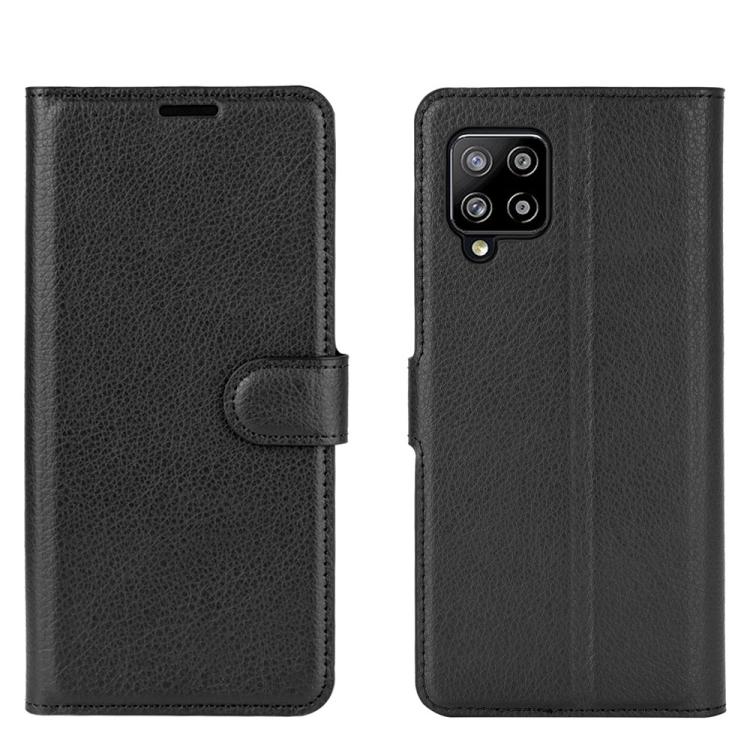 Чехол-книжка Litchi Texture на Samsung Galaxy A42 - черный