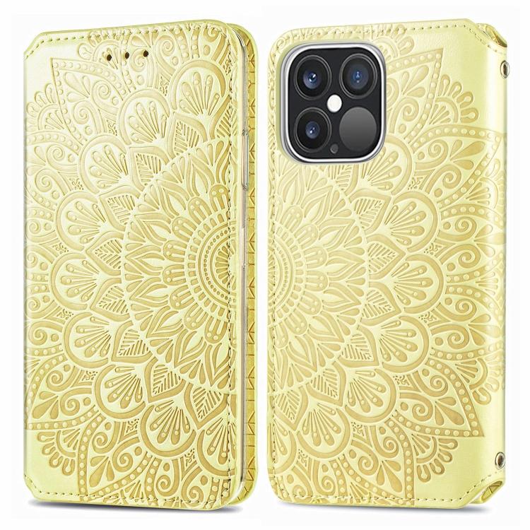 Чехол-книжка Blooming Mandala для iPhone 13 Pro - желтый