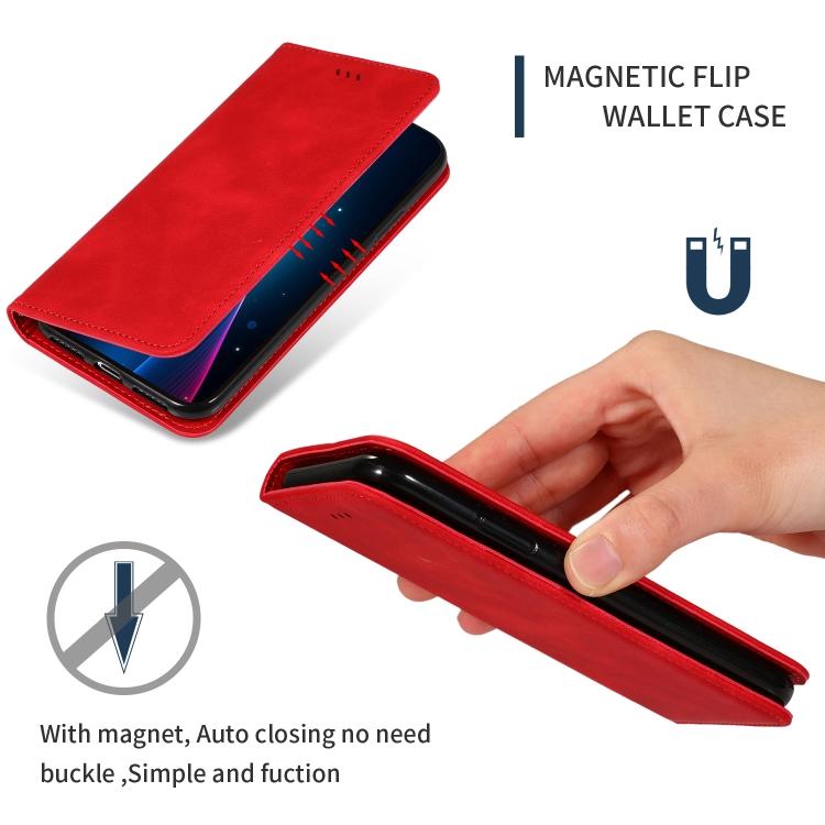 Чехол-книжка красного цвета с магнитной защелкой для Самсунг Гелекси А71