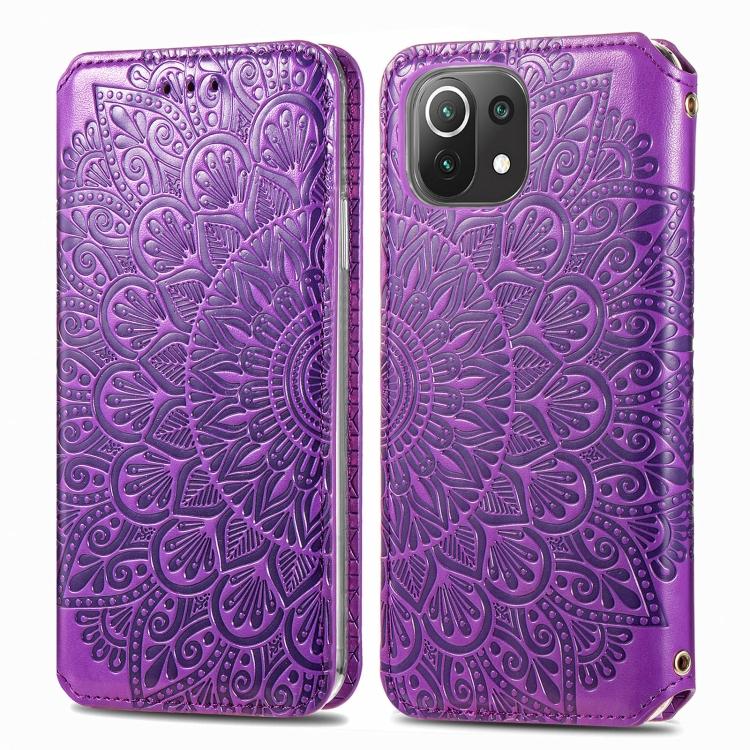 Фиолетовый ударостойкий чехол-книжка для Сяоми Ми 11 Лайт