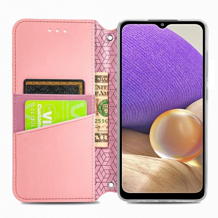 Розовый чехол-книжка с удобными слотами для Самсунг Галакси A32 4G