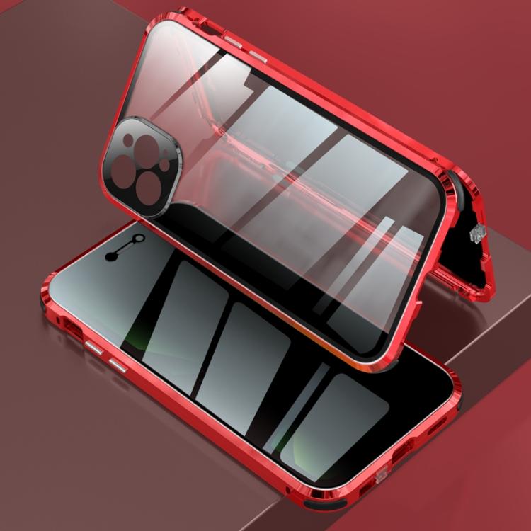 Двусторонний магнитный чехол на Айфон 12 Про Макс - красного цвета