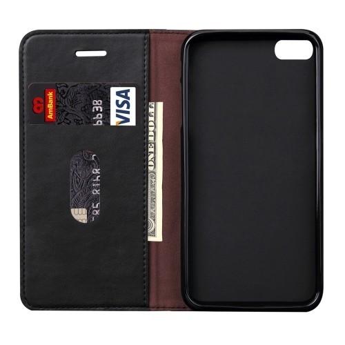 Кожаный Чехол Книжка Retro Texture Wallet Черный для iPhone 6/6S