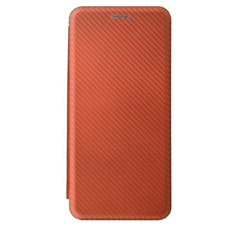 Чехол-книжка Carbon коричневого цвета на Samsung Galaxy S21 Ultra