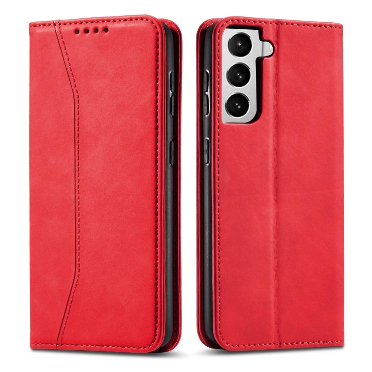 Красный чехол-книжка Calfskin Texture на Samsung Galaxy S21