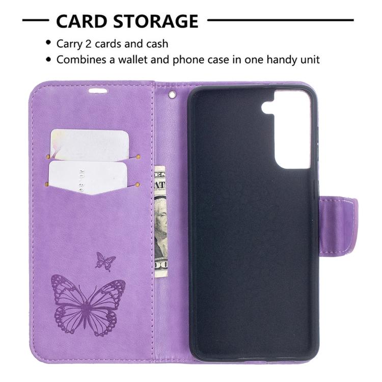 Фиолетовый чехол-книжка Butterflies Pattern для Samsung Galaxy S21 Plus