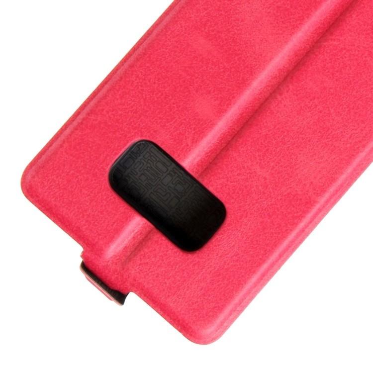 Кожаный флип- чехол на Самсунг С8-пурпурно-красный