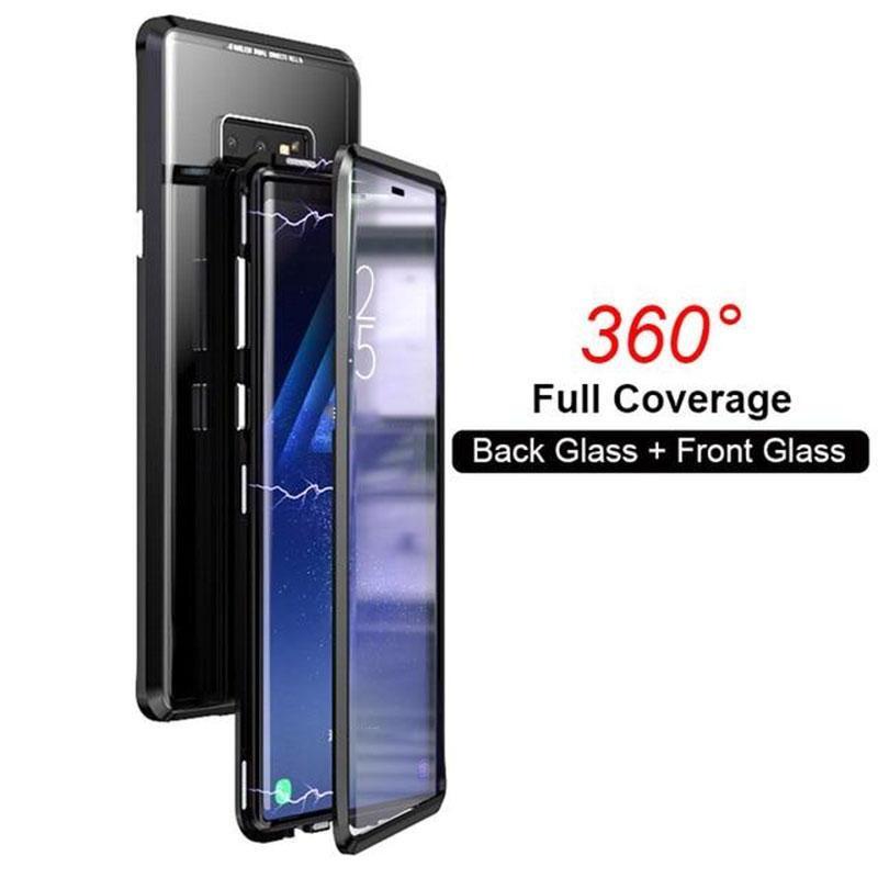 Двусторонний магнитный чехол Magnetic Angular Frame Tempered Glass на Samsung Galaxy Note 9 - черный