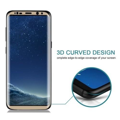 Защитное 3D Стекло на весь экран Silk-screen 0.3mm 9H для Самсунг С8 золотой