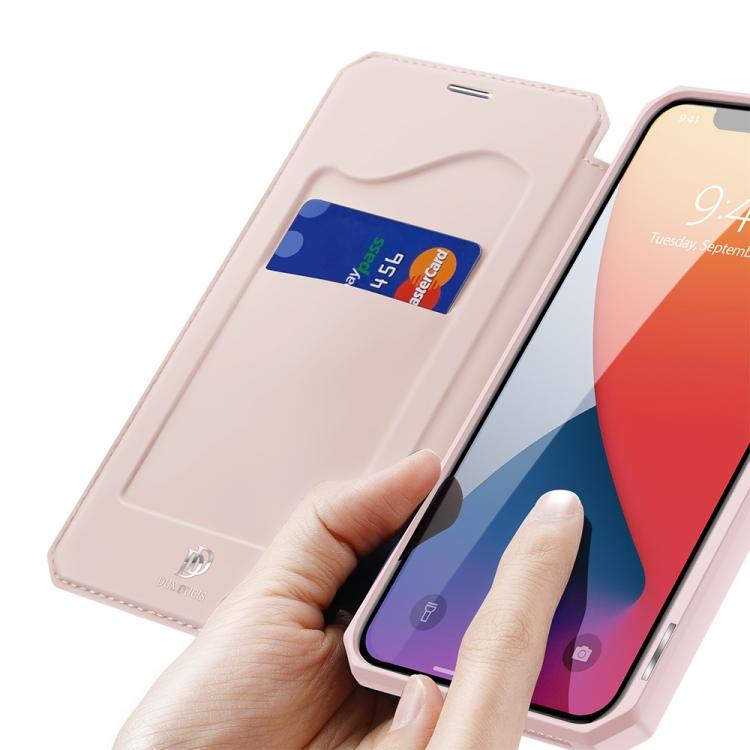 Чехол-книжка с отсеком для карт для Айфон 12 Про Макс - розовый