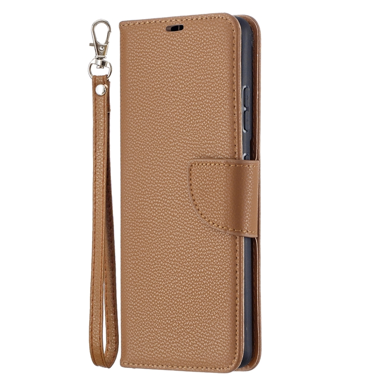 Коричневый чехол-книжка Litchi для Samsung Galaxy S21 Ultra