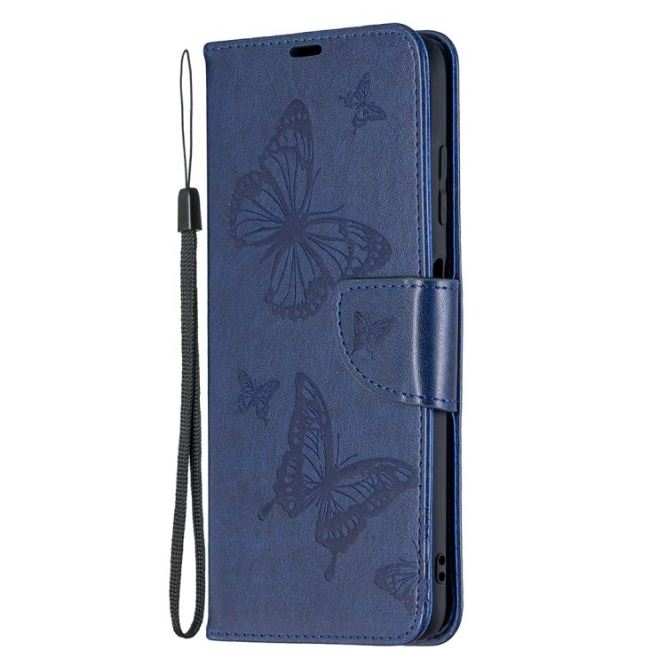 Чехол-книжка Butterflies синего цвета на Xiaomi Poco X3 Pro