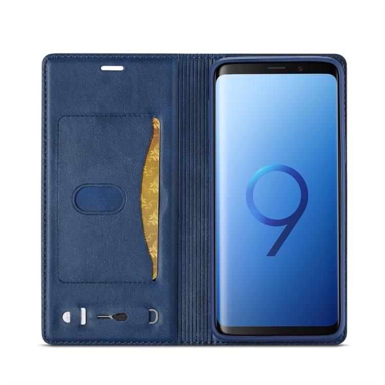 Чехол-книжка с слотом под кредитки для Самсунг Гелекси С9 Плюс синего цвета