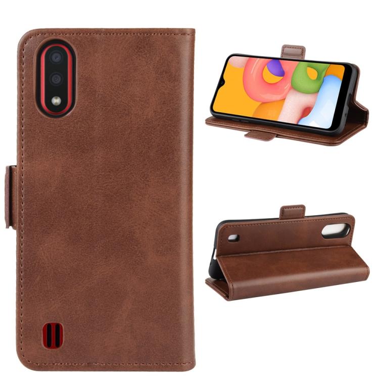 Чехол-книжка Dual-side Magnetic Buckle для  Samsung Galaxy A01 - коричневый