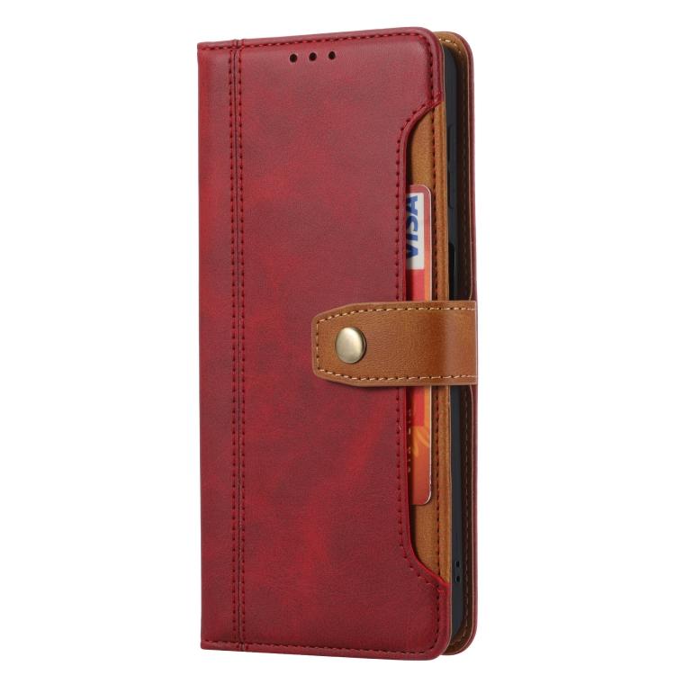 Красный кожаный чехол-книжка для Сяоми Редми Нот 10