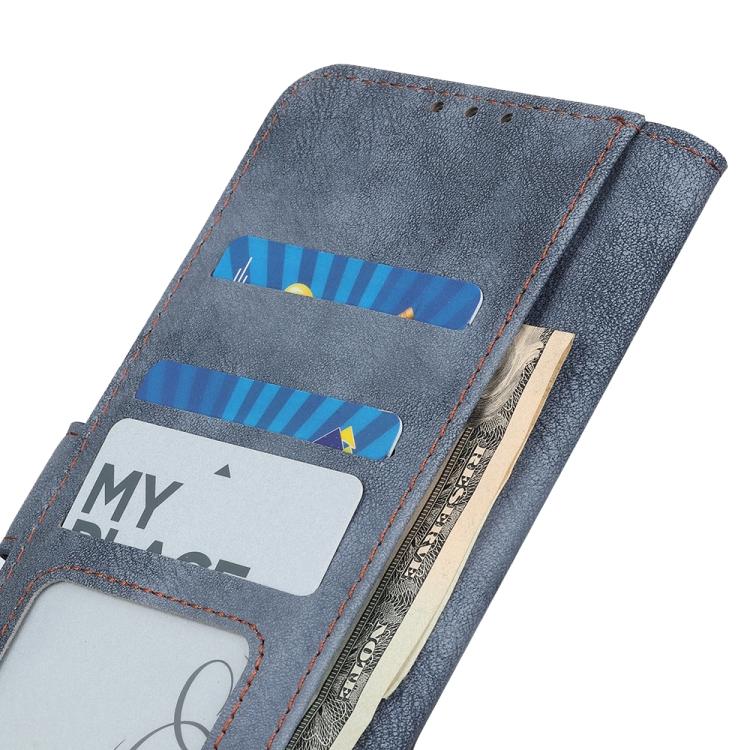 Чехол-книжка синего цвета со слотами под кредитки для Айфон 13 Про