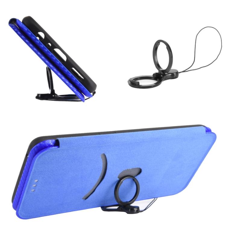 карбоновый чехол с отдельной подставкой на Ксяоми Поко М3 синий