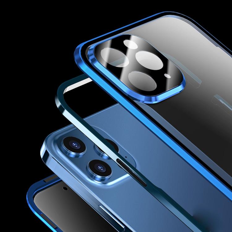 Двухсторонний магнитный чехол для Айфон 12 Про Макс синий