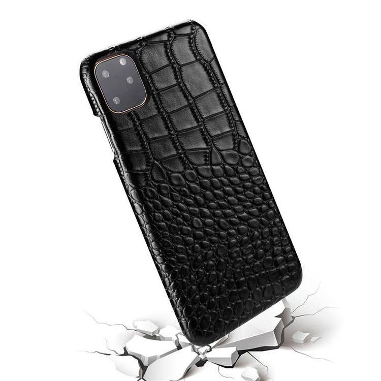 Кожаный чехол EsCase Crocodile Skin-like для Айфон 11- черный