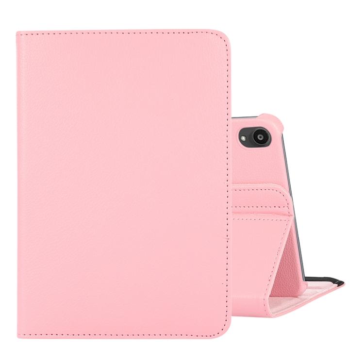 Розовый кожаный чехол-книжка на Айпад мини 6 2021