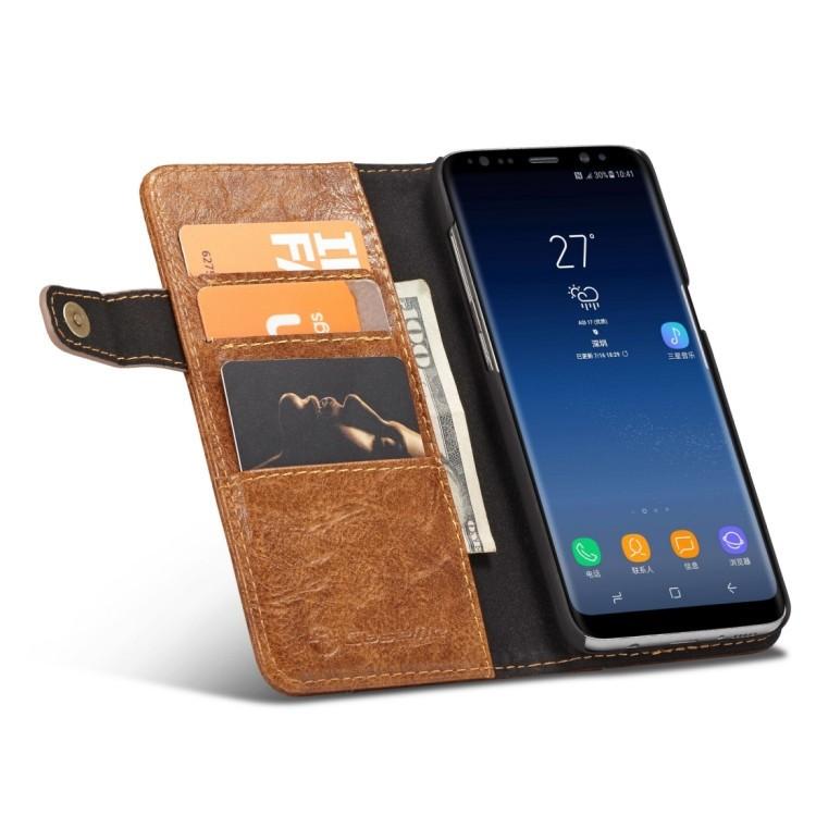 Кожаный чехол- кошелек КейсМи  Крези Хорс Текстур на Самсунг С8-коричневый