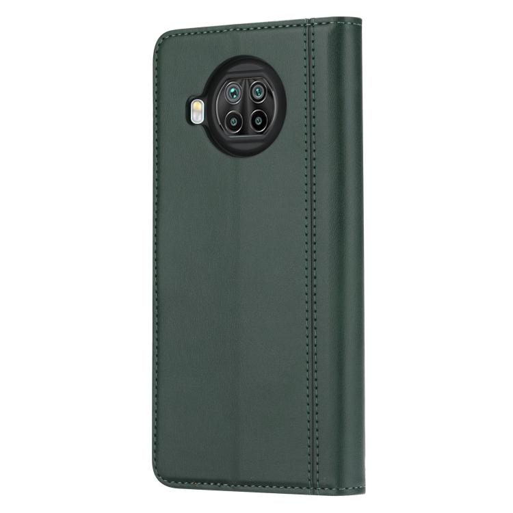 Ударостойкий чехол-книжка для Сяоми Ми 10Т Лайт зеленого цвета