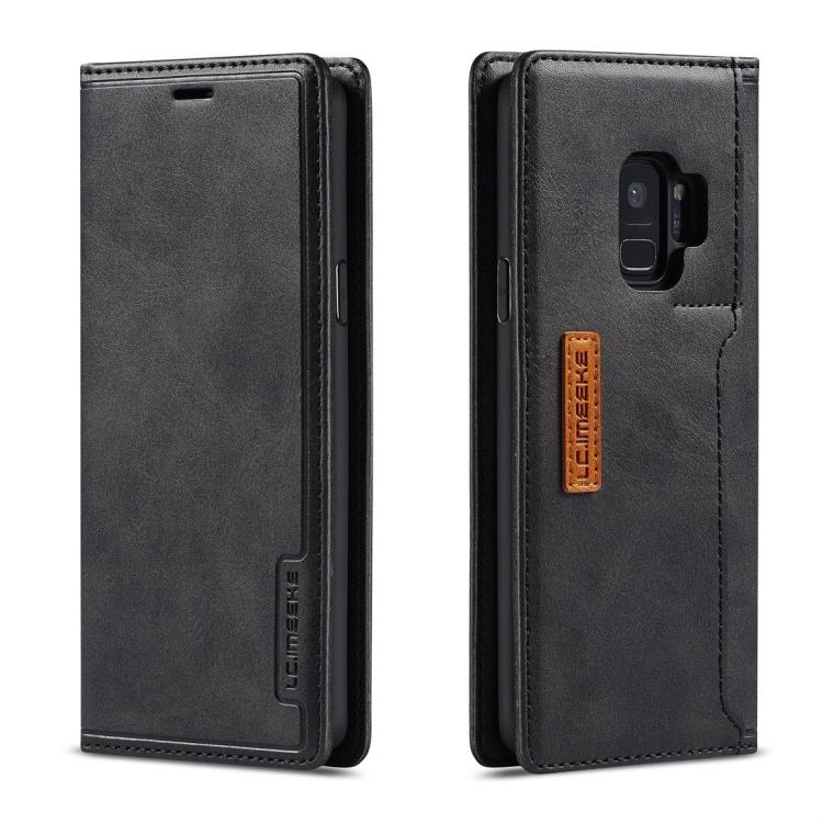 Кожаный чехол-книжка черного цвета для Самсунг Гелекси С9 Плюс
