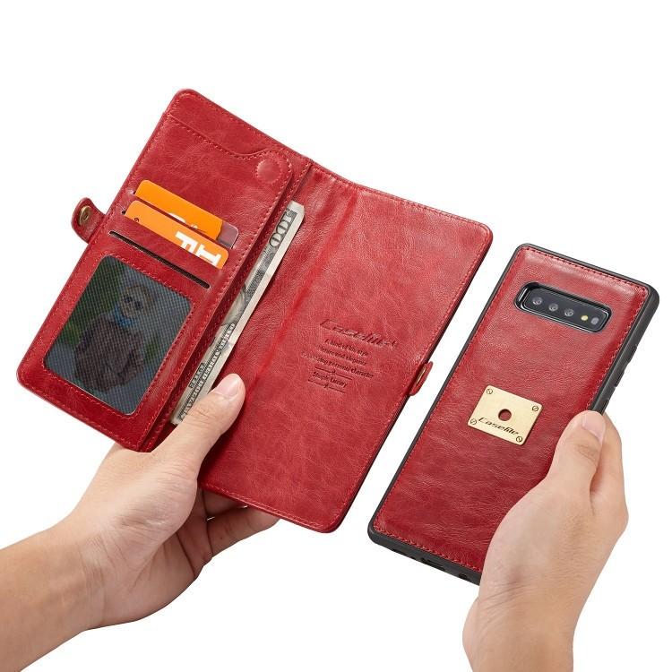 Кожаный чехол-книжка CaseMe Qin Series Wrist Strap Wallet Style со встроенным магнитом  для Samsung Galaxy S10- красный